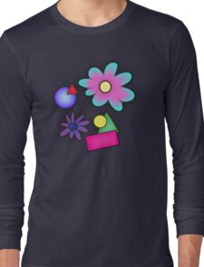 RETRO-Vibrant 80s Abstract Shapes & Flowers Long Sleeve T-Shirt