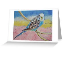 Sky Blue Budgie Greeting Card