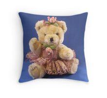 Teddy Girl in Blue Throw Pillow