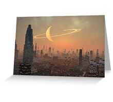 Hot Summer Night in Alien City Greeting Card