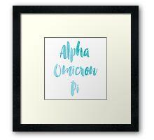 Alpha Omicron Pi Blue Watercolor Framed Print