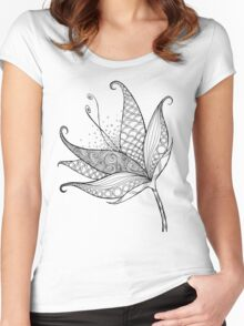 Patterned Flower Ink Drawing 01 Women's Fitted Scoop T-Shirt