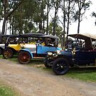 Row of Veteran Cars - Drouin Golf Club by Bev Pascoe