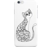 Patterned Cat Ink Drawing iPhone Case/Skin