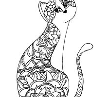 Patterned Cat Ink Drawing by AmandaRuthArt