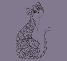 Patterned Cat Ink Drawing Kids Clothes