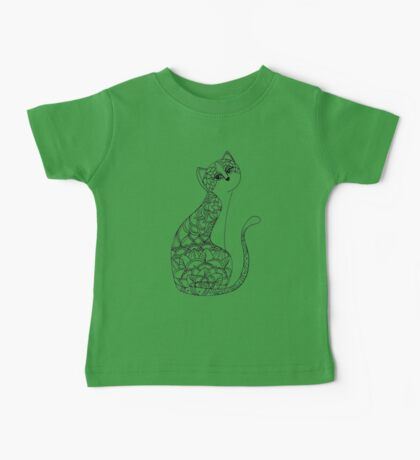 Patterned Cat Ink Drawing Baby Tee