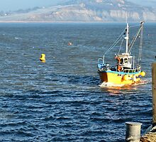 Fishing Boat Coming Into Lyme Harbour by lynn carter