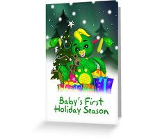 Baby's First Christmas Card Cute Dragon In Snow Greeting Card