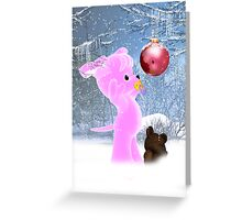 Holiday Card For Small Child With Pink Puppy Greeting Card