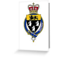 Coat of arms (family crest) for last-name or surname Prater or Prather (England) . Heraldry banner for your name. Greeting Card