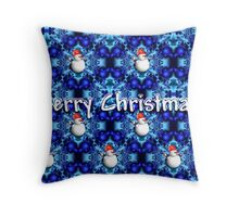 Blue pearls Merry Christmas card Throw Pillow