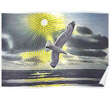 Circle seascape with seagull 29 08 2015 Poster