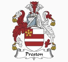 Coat of arms (family crest) for last-name or surname Preston . Heraldry banner for your name. T-Shirt