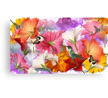 floral collage template Canvas Print