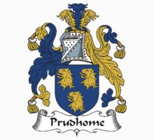 Coat of arms (family crest) for last-name or surname Prudhome . Heraldry banner for your name. T-Shirt