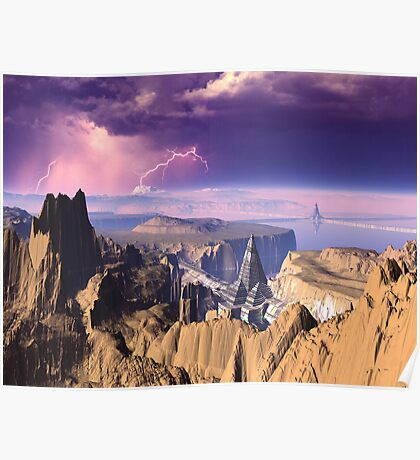 Lightning Storm over Pyramid Cities Poster