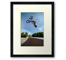 BMX Bike Stunt Back Flip Framed Print