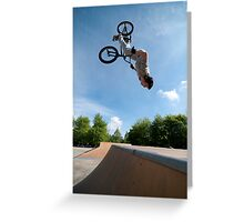 BMX Bike Stunt Back Flip Greeting Card