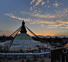 Bodnath Stupa at Sunset by Peter Hammer