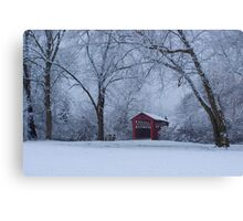 Snow Adorns The John Burrows Covered Bridge Canvas Print