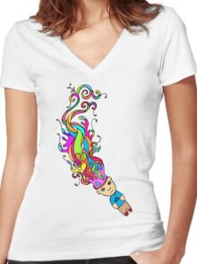 Abstract In My Mind Women's Fitted V-Neck T-Shirt