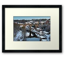 winter morning over the river Framed Print