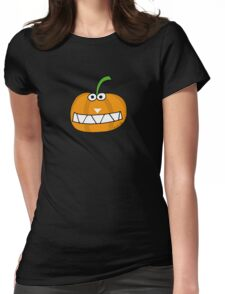 Cute Happy Halloween orange pumpkin Womens Fitted T-Shirt