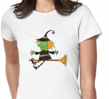 Halloween green witch  Womens Fitted T-Shirt