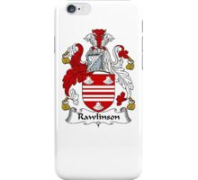 Coat of arms (family crest) for last-name or surname Rawlinson . Heraldry banner for your name. iPhone Case/Skin