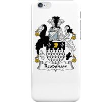 Coat of arms (family crest) for last-name or surname Readshaw . Heraldry banner for your name. iPhone Case/Skin