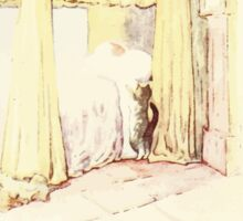 The Tailor of Gloucester Beatrix Potter 1903 0054 Cat Checking Bed Sticker