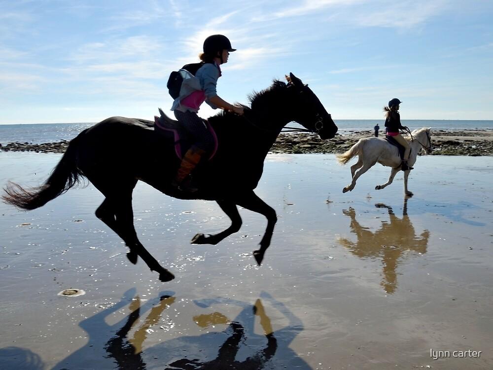 Joyful Horses At Charmouth Beach, Dorset UK by lynn carter