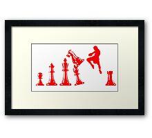 Kickboxing Chess Jumping Knee Red  Framed Print