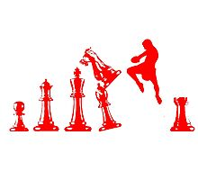 Kickboxing Chess Jumping Knee Red  Photographic Print