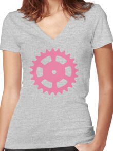 Cog and Roll (pastel) Women's Fitted V-Neck T-Shirt