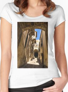Sharp Shadows Passageway - Old Town Noto, Sicily, Italy Women's Fitted Scoop T-Shirt