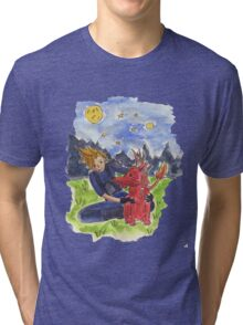 Cloud and Red XIII Tri-blend T-Shirt