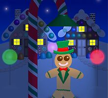 Gingerbread Man With Top Hat Under Candy Lamp by SeaSerpent