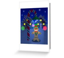 Gingerbread Man With Top Hat Under Candy Lamp Greeting Card