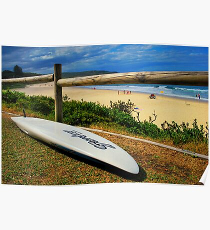 Surfing Catherine Hill Bay Poster