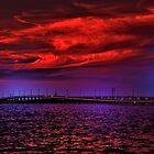 Sunset over Punta Gorda bridge by LudaNayvelt