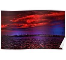 Sunset over Punta Gorda bridge Poster