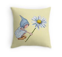 Little Gnome Girl with Big Daisy Flower Throw Pillow