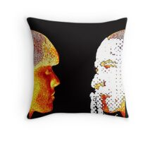 Girl and Obama mask, handcrafted dots image, mixed media, pop-art Throw Pillow