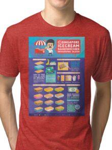 Singapore icecream sandwiches infographic design Tri-blend T-Shirt