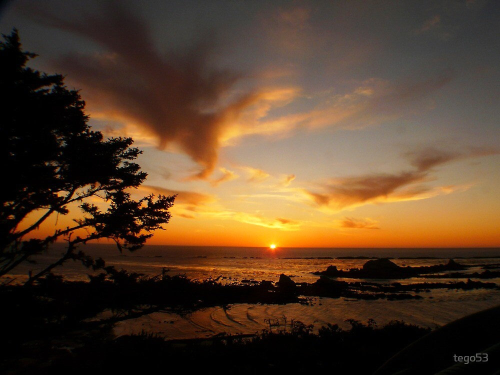 sunset on the oregon coast by tego53