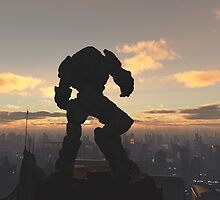 Future City - Robot Sentinel at Sunset by algoldesigns