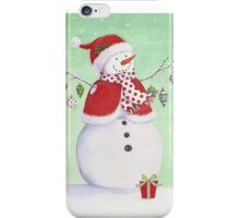 Cute snowman with ornaments iPhone Case/Skin