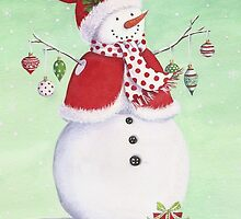 Cute snowman with ornaments by lizblackdowding